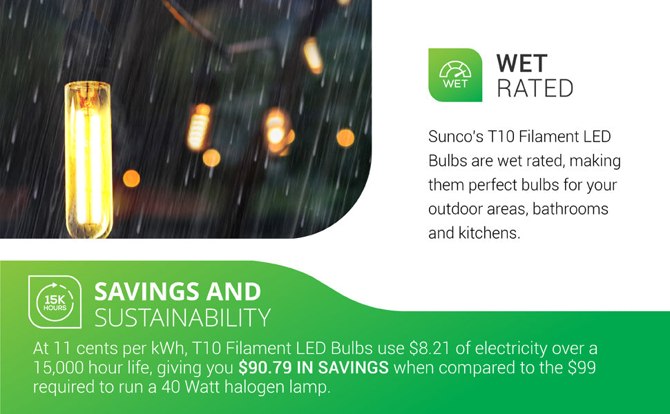 Wet Rated. Sunco's T10 Filament LED Bulbs are wet rated, making them perfect bulbs for your outdoor areas, bathrooms, and kitchens. Image shows T10 Filaments in pendant fixtures on a rainy patio. Savings and Sustainability. At 0.11 cents per kWh, 5W T10 bulbs use 8.21 dollars of electricity over their 15,000 hour life, giving you 90.79 dollars in savings when compared to the 99 dollars it takes to run a 40 watt halogen bulb.