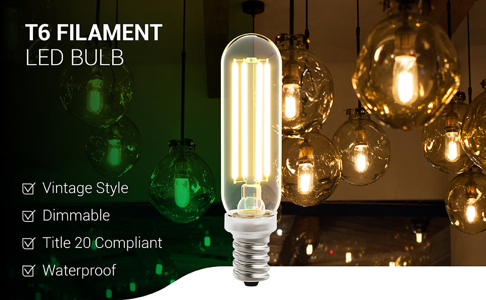 The waterproof T6 LED Candelabra Filament Bulb from Sunco Lighting features a durable, glass housing so you can see the beauty of the LED filament inside. The vintage style of this tubular light bulb is ideal for decorative fixtures and open pendant lamps where you can show off the retro look. This bulb is Title 20 compliant for sale in California. It is also dimmable from 100% to 10% so you can adjust that warm, amber glow to exactly the brightness or dimmability that you need.