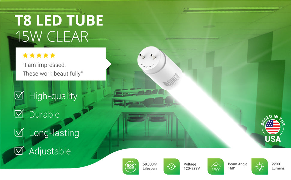 Ditch your ballast and increase the longevity of your fixtures with Sunco's durable T8 LED Tubes. This T8 LED Tube has a clear cover and consumes only 15W yet is a 32W equivalent. Bypass the ballast on your existing shop light fixture to install this LED tube for long-lasting life (50,000 lifetime hours) with a 5-year warranty. Image shows a closeup of the T8 LED Tube and the tubes used in a classroom or large conference room, learning setting.