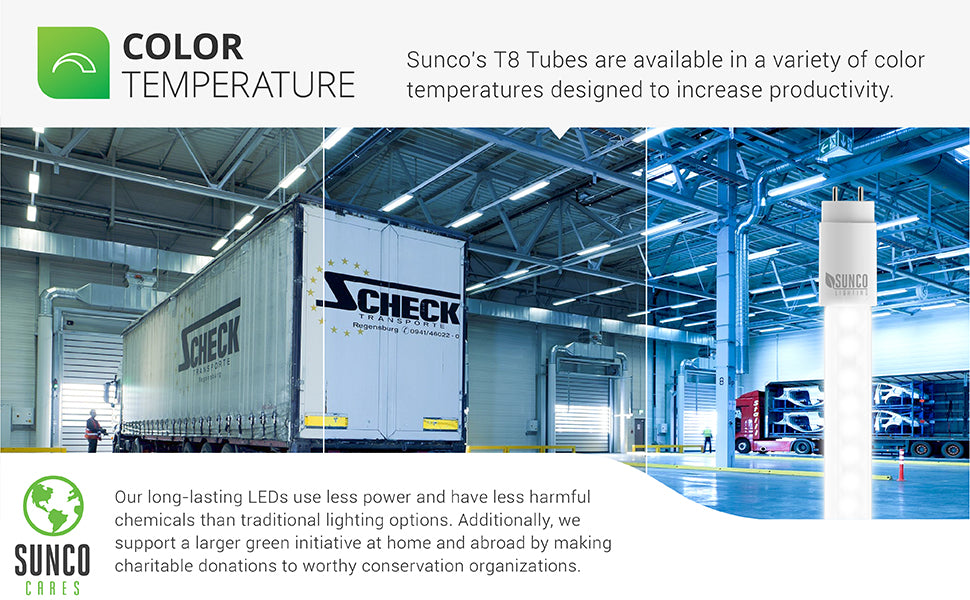Choose between 5000K and 6000K color temperatures. 5000K Daylight is the closest to sunlight. It is an energizing color of light for optimum concentration and is ideal for workspaces, corridors, as task lighting, and for offices or retail spaces. Sunco makes regular charity donations to worthy conservation organizations to support a larger green initiative at home and abroad. Sunco is based in the USA and is American owned and operated.