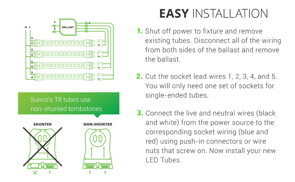 Easy Installation. 1. Shut off power. Remove existing tubes from your fixture. Disconnect all wiring from ballast (both sides!) and remove ballast. 2. Cut the socket lead wires 1, 2, 3, 4, 5. You will only need one set of sockets for single-ended tubes (SEP). 3. Connect live and neutral wires (black and white) from power source to socket wiring (blue and red). Use push-in connectors or wire nuts that screw on to complete. Install your new T8 LED Tubes. Sunco T8s use non-shunted tombstones.