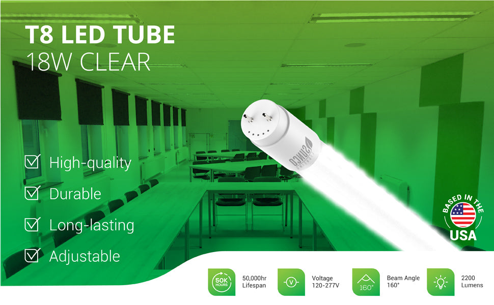 Ditch your ballast and increase the longevity of your fixtures with Sunco's durable T8 LED Tubes. This T8 LED Tube has a clear cover and consumes only 18W yet is a 40W equivalent. Bypass the ballast on existing shop light fixtures to install this LED tube for long-lasting life (50,000 hours) with a 5-year warranty. Image shows a closeup of the T8 LED Tube and the tubes used in a classroom or large conference room, learning setting. Provides bright light with 2200 lumens.