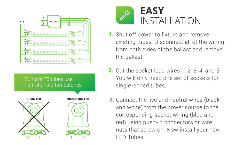 Easy Installation. 1. Shut off power. Remove existing tubes from your fixture. Disconnect all wiring from ballast (both sides) and remove ballast. 2. Cut the socket lead wires 1, 2, 3, 4, 5. You will only need one set of sockets for single-ended tubes (SEP). 3. Connect live and neutral wires (black and white) from power source to socket wiring (blue and red). Use push-in connectors or wire nuts that screw on to complete. Install your new T8 LED Tubes. Sunco T8s use non-shunted tombstones.