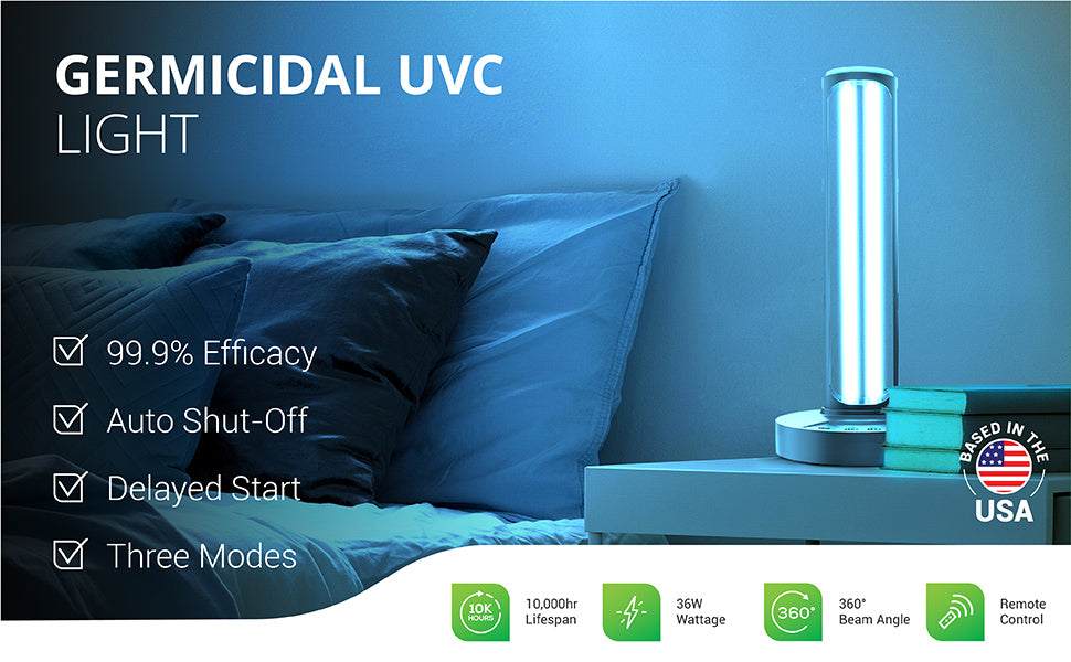 The Sunco Lighting Germicidal UVC Light offers 99.9 percent efficacy, an auto shut-off for protection, a delayed start so you can leave the room, and 3 time modes. It also includes a remote control, a 360-degree beam angle, a 10,000 hour lifespan and only runs on the low wattage of 36W of power. Image shows Sunco's UVC light on in a bedroom.