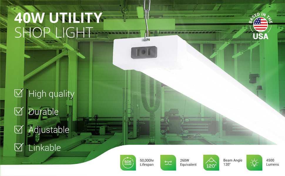 This 40W Utility Shop Light is an integrated LED with 50,000 lifetime hours for reduced maintenance. It is also a 40W LED that is a 260W equivalent to lower power bills when compared to outdated fluorescent tubes. This high quality fixture is durable and linkable. It features a 120-degree beam angle to light a wide area with its 4500 lumens of instant on, bright light.