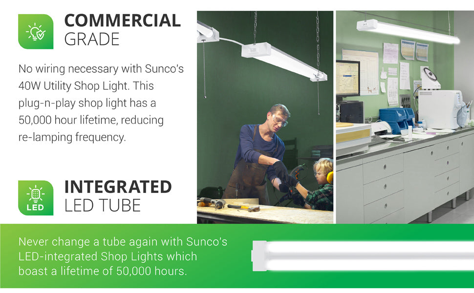 Commercial Grade with fast setup, No wiring is necessary with Sunco's commercial grade Utility Shop Light. This plug-n-play shop light has a 50,000 hour lifespan to reduce re-lamping frequency. Integrated LED Tube. Due to the long lifetime you won't need to change out the linear tube during the life of the fixture. Image shows a man and a young boy in a woodshop or garage under a bright shop light and a laboratory station with the instant on task light above.