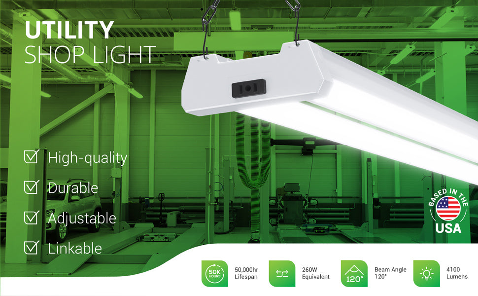 Quickly install this Utility Shop Light with frosted LED covers. No wiring needed with Sunco's 40W Utility Shop Light. This plug and play shop light has a 50,000 hour lifetime and the integrated LEDs mean no relamping is needed. Great for industrial spaces like crossfit gyms, auto repair shops, med labs, and wood shops or metal shops. Here, the LED Shop Light is linked and hanging from a ceiling. Features a 120-degree beam angle and 4100 lumens. This 40W linear tube is a 260W equivalent.