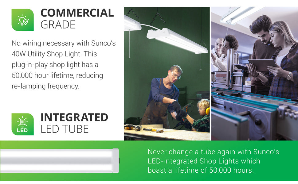 Commercial Grade. No wiring is needed with Sunco's 40W Utility Shop Light. This plug-n-play shop light has a 50,000 hour lifetime, reducing relamping frequency. With an Integrated LED tube you don't need to change the tube during its 50,000 hours. Image shows this LED shop light are suspended above to provide lighting for woodshop, and students testing diagnostics next to a med lab machine with the hanging shop light above.