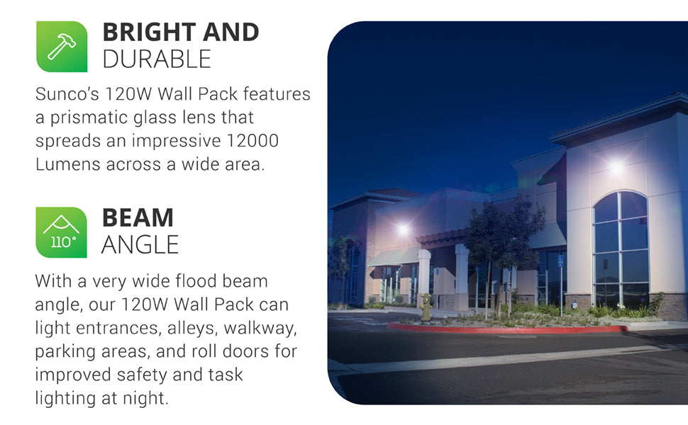 Sunco's 120W LED Wall Pack features a prismatic glass lens that spreads an impressive 12,000 lumens across a wide area. Made with durable construction and a 50,000 hour lifetime, this 120W Wall Pack is commercial grade, 120-277V and offers energy savings. This is an 120W LED that is an 800W HID equivalent. Image shows our Wall Pack above storage unit roll doors for bright, night lighting for a safer work environment. Also shows the interior of fixture and the lens separated from the housing.