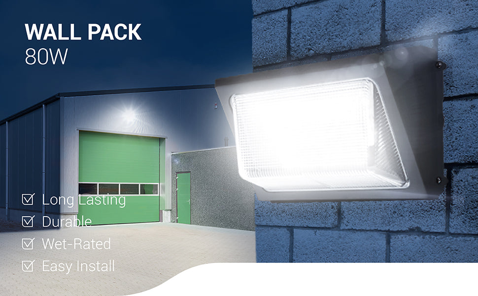 The durable Sunco LED Wall Pack 80W is long-lasting with 50,000 lifetime hours. It is wet rated for outdoor use and easy to install. It is an HID Replacement, IP65 rated, 120-277V, Bright Consistent Commercial Outdoor Security Lighting with ETL, FCC, and RoHS certificates.