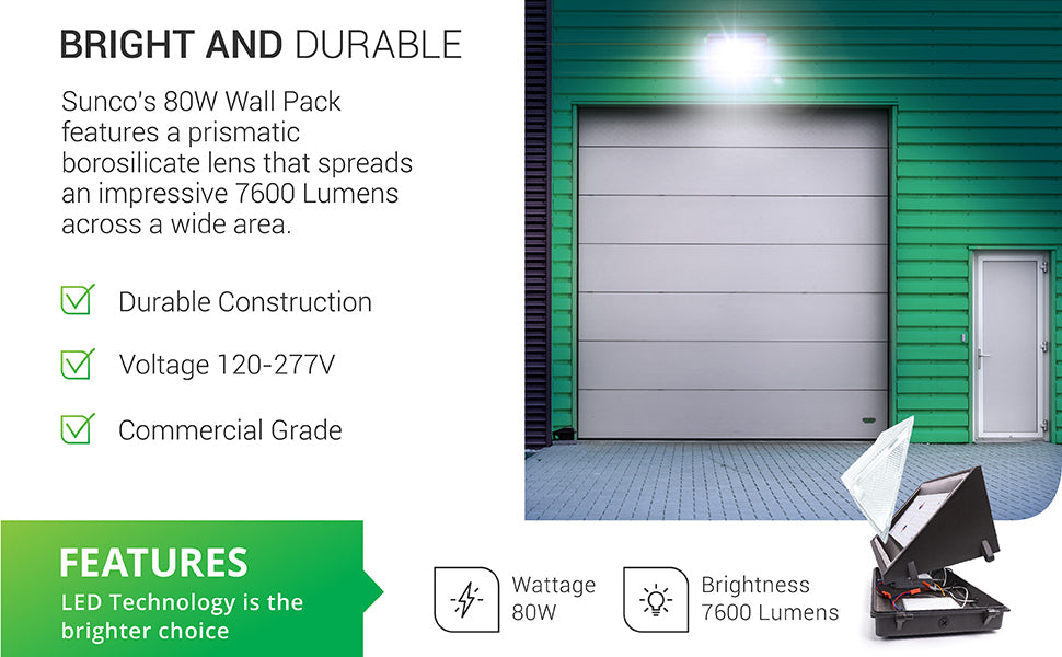 The bright and durable Sunco 80W LED Wall Pack features a prismatic borosilicate lens that spreads an impressive 7600 lumens across a wide area. Made with durable construction and a 50,000 hour expected lifetime, this 80W Wall Pack is commercial grade for 120-277V and a bright 7600 lumens. LED technology is the brighter choice.