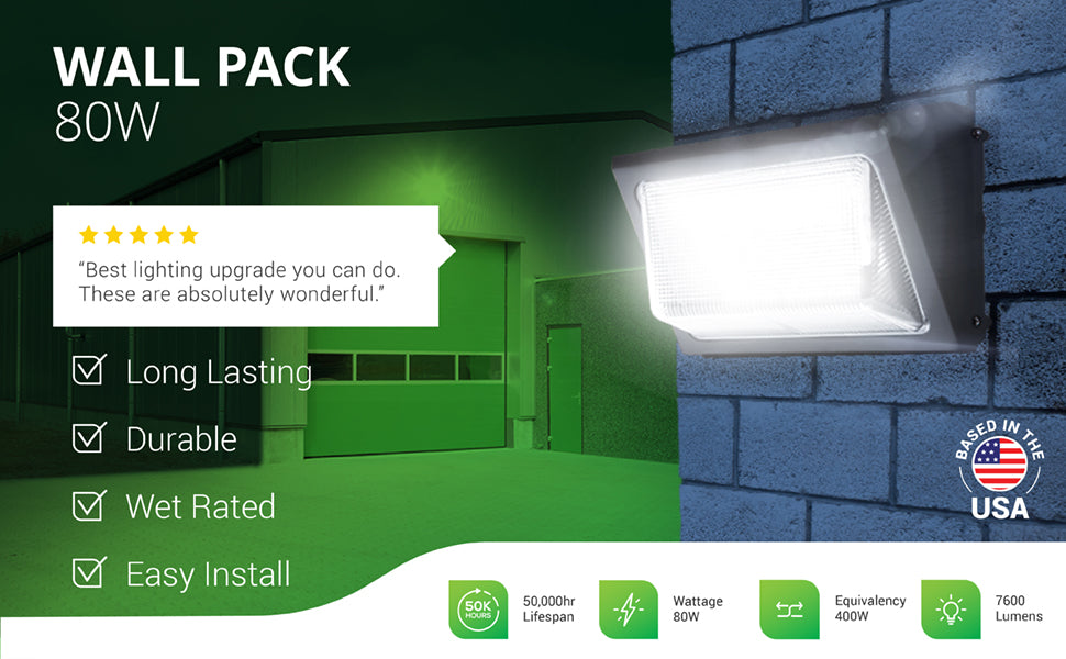 The durable Sunco LED Wall Pack 80W is long-lasting with 50,000 lifetime hours. It is wet rated for outdoor use and easy to install. Install this HID Replacement, IP65 rated, commercial grade light fixture on your exterior wall outside your business or residential property. This LED fixture runs on 120-277V, with 7600 lumens for bright consistent commercial outdoor security lighting. The 80W LED is a 400W equivalent to reduce power consumption. ETL, FCC, and RoHS certificates.