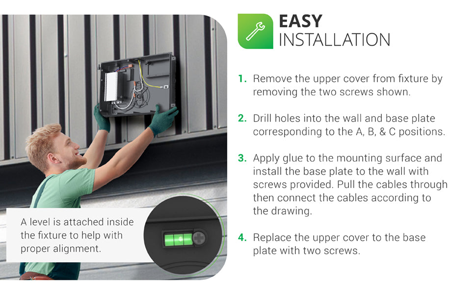 Installation of LED Wall Pack 80W is shown in 4 easy steps. A detailed install manual is available under support tab. Install. 1. Remove the upper cover from fixture. 2. Drill holes in the wall as shown in manual. 3. Apply glue to the mounting surface. Install the base plate to wall with provided screws. Feed cables, then connect per manual drawing. Reinstall the upper cover to the base plate (reverse of step one). A level is attached inside the fixture to help with proper alignment, as shown.