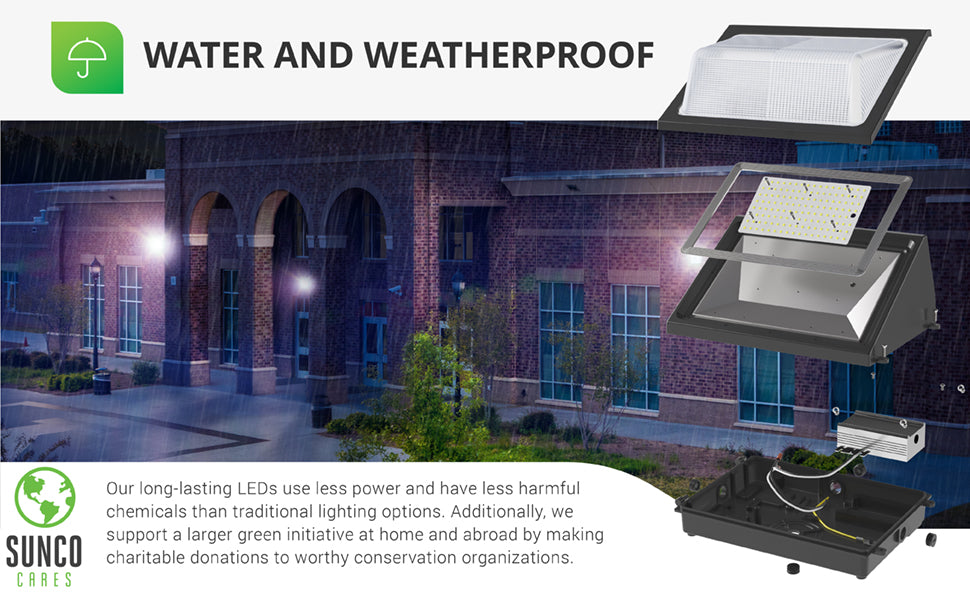 Sunco's LED Wall Pack 80W is wet rated and weatherproof, making it ideal for outdoor areas and wet environments. Image shows an expanded view of wall pack to show interior components. Also shown, photo of wall packs in rain. Sunco supports a larger green initiative at home and abroad by making charitable donations to worthy conservation organizations. Sunco is proudly based in the USA. We are American owned and operated.