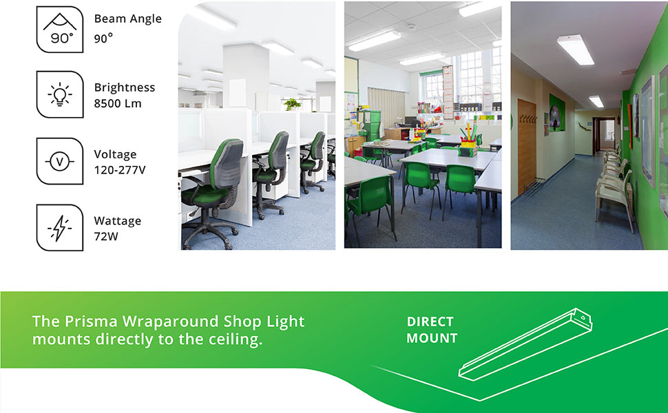 The Sunco wet rated Prisma Wraparound Shop Light mounts directly to the ceiling. Simply direct mount to your junction box (not included). Three images show our wraparound LED light fixtures in various settings: a customer service bullpen area, school classrooms with shared desks, and the waiting area of an office. Tech specs include 90-degree beam angle, 8500 lumens, 120/277V voltage, and it consumes only 72W yet is a 300W equivalent.