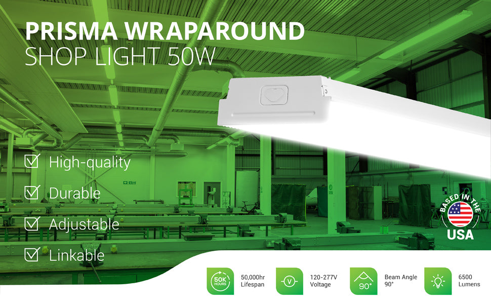 The Sunco Prisma Wraparound 50W Shop Light is hard wired and flush mounted for a seamless, minimalist look. Image shows a classroom workshop with LED shop lights linked overhead for task lighting. This LED wraparound light features 6500 lumens of bright, instant on light. This 50W light is a 300W equivalent. With its 50,000 lifetime hours and low wattage, you will save on relamping and your energy bill when compared to traditional lighting fixtures.