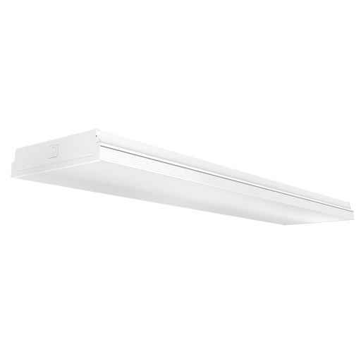The 11-inch Prisma Wraparound LED Shop Light with a prismatic lens cover offers 50,000 lifetime hours so you do not need to relamp as often as with your traditional tube light fixtures. It consumes only 72W and is equivalent to a 300W fixture. It offers instant on, bright light with an impressive 8500lm high lumen count. Image here shows the full 4ft length of the LED shop light. This light is flush mounted and not suspended.