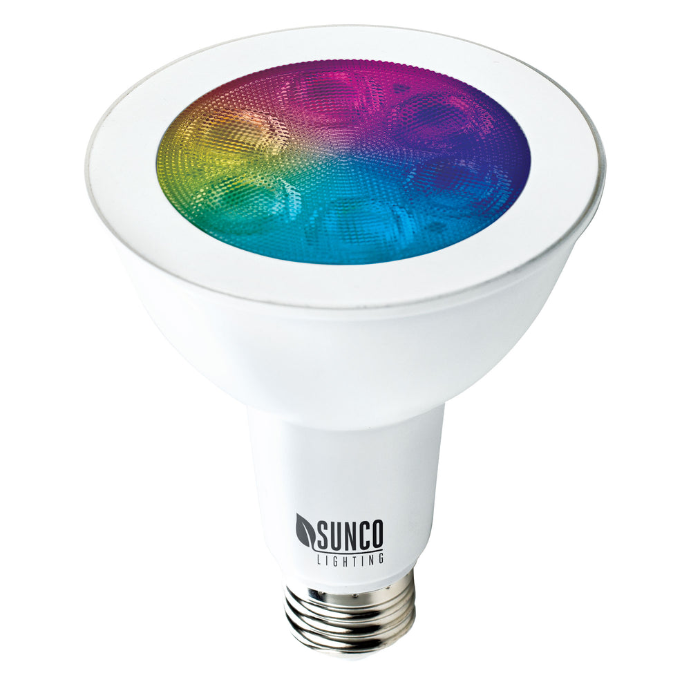 PAR30 LED Smart Bulb home dimmable rgb cct color temperatures hue rainbow voice control No Hub required app schedules scenes music sync. Alexa Google Assistant compatible for voice control.