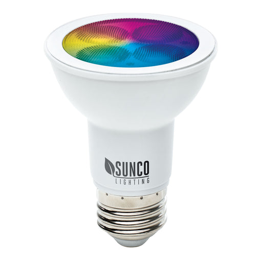 PAR20 Globe LED Smart Bulb home dimmable rgb cct color temperatures hue rainbow voice control No Hub required app schedules scenes music sync. Alexa Google Assistant compatible ENERGY EFFICIENT SUSTAINABLE ECO-FRIENDLY