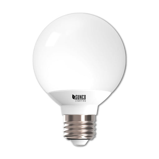 This damp rated G25 LED Globe light bulb is dimmable with an E26 base. The omnidirectional bulb suits vanities as lights on either side of a mirror, decorative light fixtures, and pendant lights. The G25 LED is UL listed and Energy Star certified. The bulb consumes only 6W and is a 40W equivalent. With a frosted, durable housing, this LED bulb provides great accent lighting.