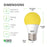 LED Dimensions of the A15 LED Yellow Bug Light Bulb: Diameter: 1.96 inches, Height: 3.5 inches, Base: E26. Features instant on light with a warm, yellow glow. This A15 LED Bug Light is shatter- and shock-resistant for durability. Specs include brightness 600 lumens, wattage: 8W, voltage: 120V. Although this bulb consumes 8W it is a 40W equivalent. Make the switch to LED and save with both longer lifetime hours and low wattage consumption than a traditional light bulb.