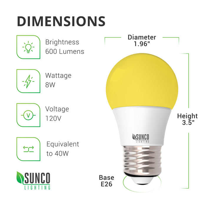 LED Dimensions of the A15 LED Yellow Bug Light Bulb: Diameter: 1.96 inches, Height: 3.5 inches, Base: E26. Features instant on light with a warm, yellow glow. This A15 LED Bug Light is durable with a 15,000 hour lifespan.  Specs include brightness 600 lumens, wattage: 8W, voltage: 120V. Although this bulb consumes 8W it is a 40W equivalent. Make the switch to LED and save with both longer lifetime hours and low wattage consumption than a traditional light bulb.