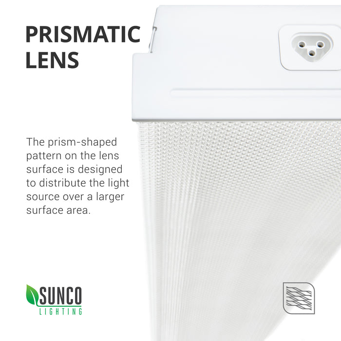 Prismatic Lens. The prism-shaped pattern on the lens surface was designed to distribute the light source over a larger surface area. Image shows a closeup of the prismatic lens cover on the 7-inch Prisma Wraparound LED Shop Light. Also shows the plug used for connecting multiple shop lights together. You can connect up to 6 of this type.