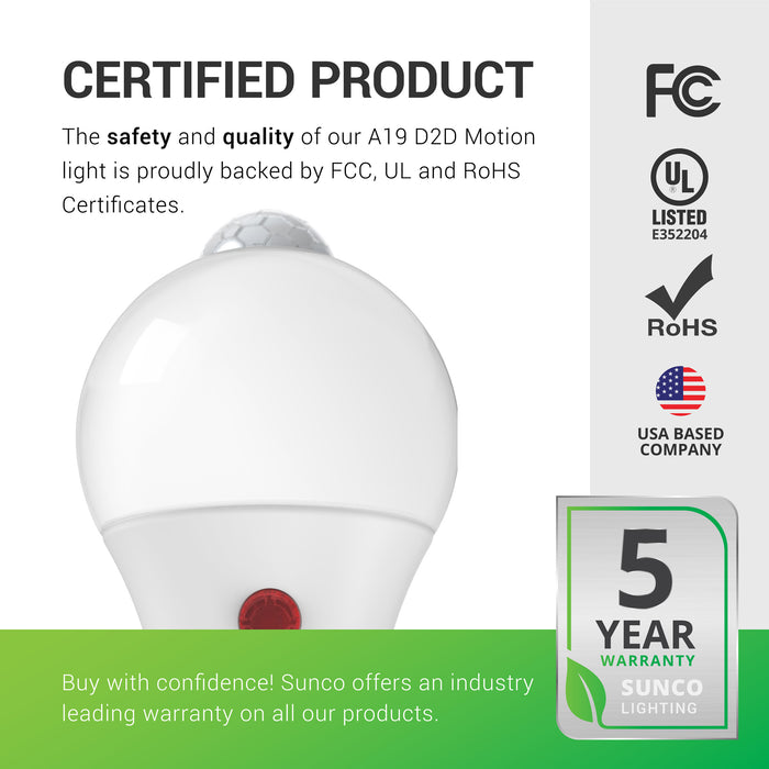 A19 LED Bulb, Dusk to Dawn, Motion Activated