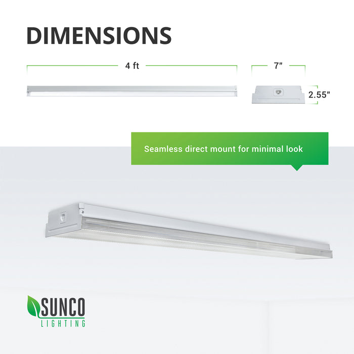 Dimensions of this 50W Sunco Prisma Wraparound LED Shop Light: Width: 7-inches, Length: 4ft, Height: 2.55 inches. You can provide a seamless, minimalist look with this direct mount fixture. Image shows the LED Wraparound flush to the ceiling. The linking port is clearly seen on the end of the fixture. This instant on light is suitable for all indoor applications as it is damp rated.