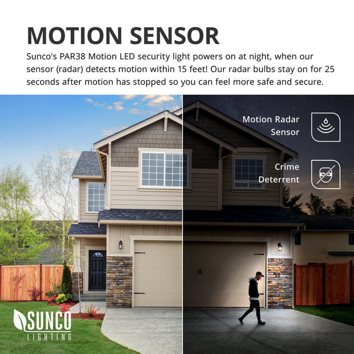 Motion Radar Sensor is included on this PAR38 LED Bulb. These security lights turn on at night when our radar sensor detects motion within 15 feet. Our radar bulbs stay on for 25 seconds after motion has stopped so you can feel more safe and secure. It is a crime deterrent since the light will turn on and reveal the source of motion. Image shows a man within range of the motion sensor on the driveway. The light is on.