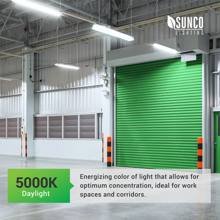 The Sunco Flat LED Shop Light comes in 5000K color temperature that is closest to Daylight. This is an energizing color of light that allows for optimum concentration. It is ideal for workspaces and corridors. The image shows the shop light suspended inside a warehouse near a roll door. It is suitable for all commercial applications and home garages.