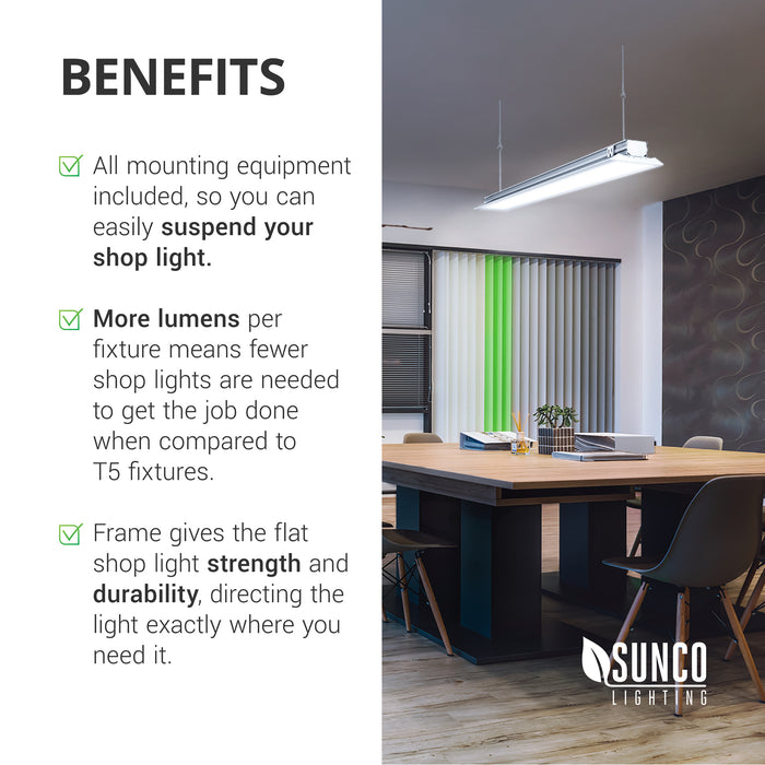 Benefits of the Sunco LED Shop Light, Flat, Clear include: All mounting equipment is included, so you can easily suspend your shop light. More lumens per fixture means fewer shop lights are needed to get the job done when compared to T5 fixtures. Frame gives the flat shop light strength and durability. It also directs the light exactly where you need it. Image shows a modern conference room with a Sunco shop light suspended overhead for a modern touch to a commercial space.