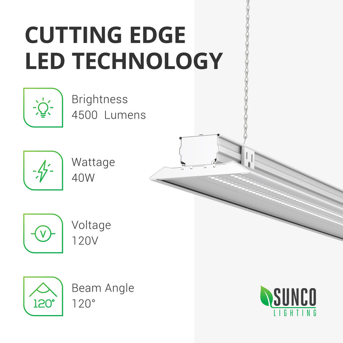 The cutting edge LED technology of our Sunco LED Shop Light, Flat, Clear cover features wattage: 40, Brightness: 4500 lumens, Voltage: 120V, and a 120 degree beam angle.