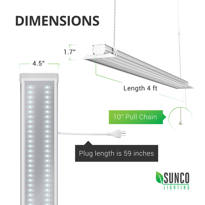 Dimensions of the Sunco Flat LED Shop Light. Width: 4.5 inches, Length: 4ft, Height: 1.7 inches. Includes a 10 inch pull chain and a power cord that is 59 inches (4.91ft) long. The outlet on the body of the light fixture is only designed for linking compatible shop lights and should not be used to power other equipment. Clear cover on light.