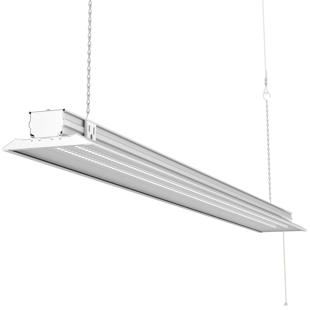 The Sunco LED Shop Light, Flat, Clear provides a 120 degree beam angle and 4500lm bright light to your commercial workshop, residential garage, storage unit, or other area where overhead task lighting is required. This light fixture suspends on chains for easy to install overhead lighting. You can link up to 8 shop lights together on a single power source. This low wattage fixture (40W) will not need to be relamped with tubes as it features integrated LEDs