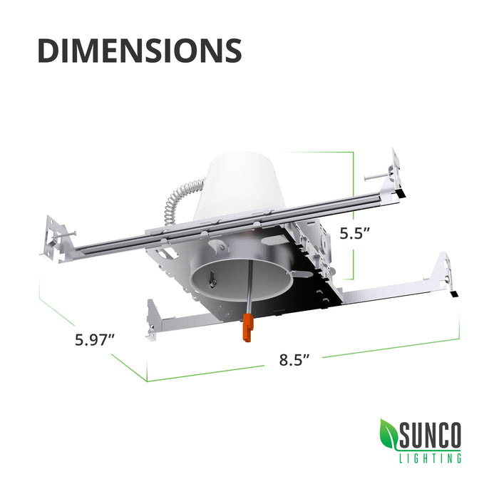 Dimensions of 4-inch recessed can from Sunco Lighting. This new construction recessed lighting can is 5.5-inches height, 5.97-inches wide, and 8.5-inches long (at longest length with adjustable hangars). J-box and flexible conduit are attached to the steel frame for easy install. Airtight and IC rated housing includes a TP24 connector to accept a retrofit LED (sold separately).