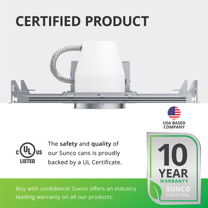 The safety and quality of our Sunco recessed cans is proudly backed by a UL certificate. It is also airtight and IC rated for safety, along with its UL Listing. Sunco offers an industry leading warranty on all our products. This 4-inch recessed can has a 10-year warranty. Sunco is American owned and operated. We are based in the USA.