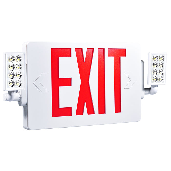 The Sunco 2 Head LED Exit Sign, shown here at an angle so you can see the adjustable LED heads with their bright, LED light on either side of the US Standard Red Letter signage. Easily pop out the knockouts to reveal directional arrows with the same, bright red. Exit sign is backlit with a fire resistant housing.
