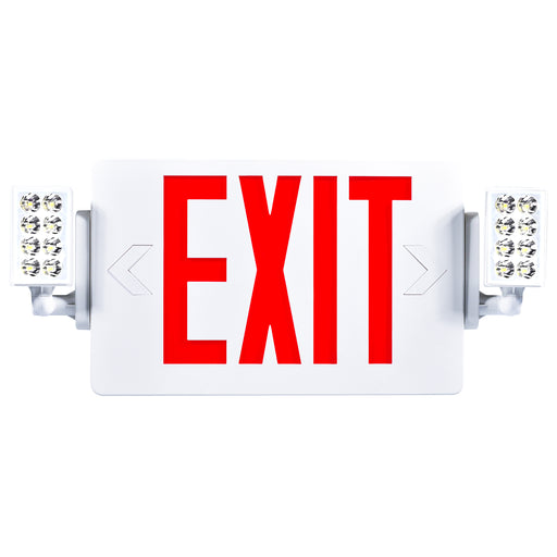 The Sunco 2 Head LED Exit Sign features a bright US standard red letter signage with knockout directional arrows and 2 faceplates so you can either mount it on a ceiling or on a wall. Includes 2 LED heads or LED lamps on either side of the sign that are adjustable. Reposition them to shine the emergency light where you need it during a power outage. Includes a 90-minute backup battery for emergency safety light in indoor, high traffic areas.