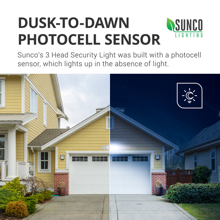 Dusk to Dawn Photocell Sensor. Sunco's 3 Head Security Light was built with a photocell sensor, which lights up in the absence of light. Image shows a two story home with a garage. Image is split with daytime where our 3 Head Security Light is off and nighttime where the dusk to dawn technology is at work as an automatic night light.