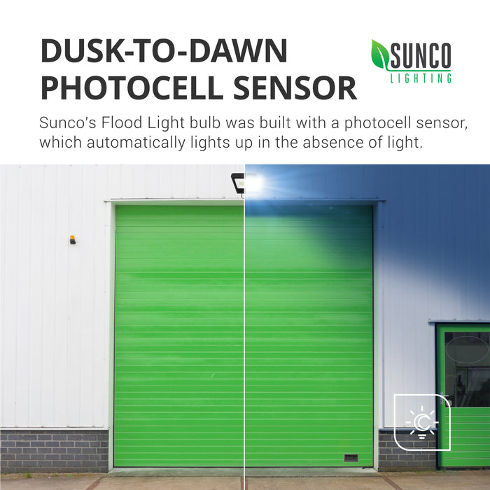 The Sunco LED Flood Light 50W includes a Dusk to Dawn photocell sensor to turn the light on when no light is detected and off again when there is light. No timer required.