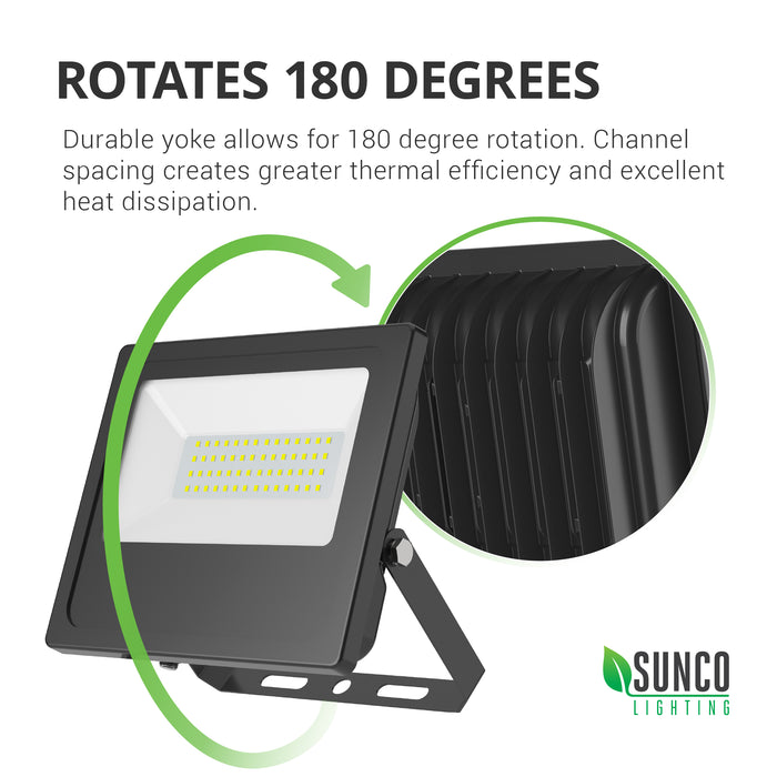 The durable yoke of the Sunco LED Flood Light 50W rotates 180-degrees, Channel spacing on the back of the light fixture improves heat dissipation.