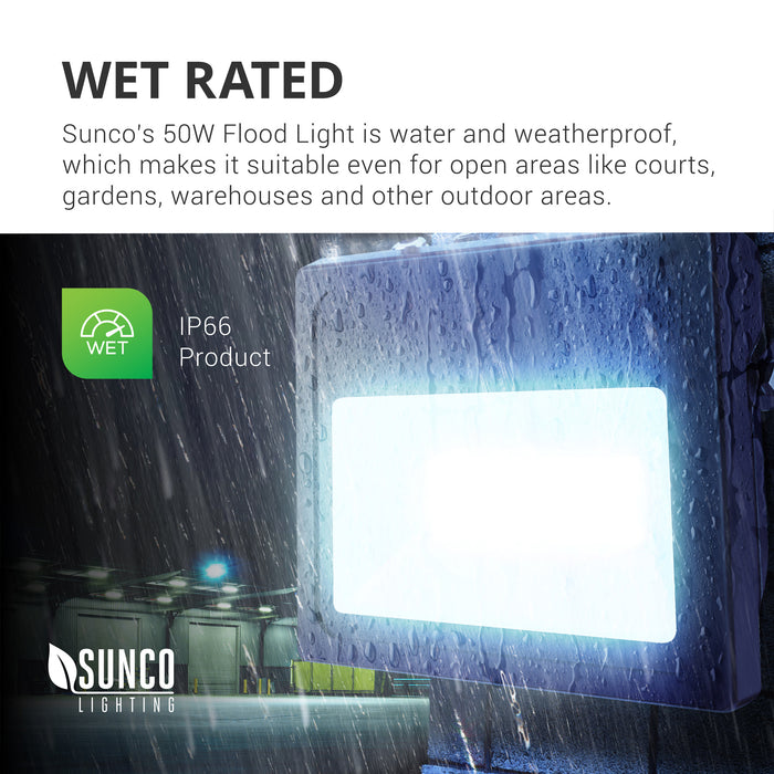 Wet Rated. This IP66 rated product, the Sunco 50W LED Flood Light is water and weatherproof, which makes it suitable even for open areas like tennis courts, basketball courts, gardens, landscape lighting, warehouses, commercial storage units, and other outdoor areas. Here, the Sunco LED Flood Light is seen on the rear of a warehouse, lighting up the loading dock area with bright 5000 lumens of light.