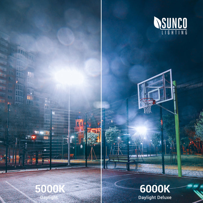 Sunco LED Flood Light 50W is available in multiple color temperatures: 5000K Daylight & 6000K Daylight Deluxe. Sunco 50W Flood Light is shown here lighting up an urban basketball court at night.