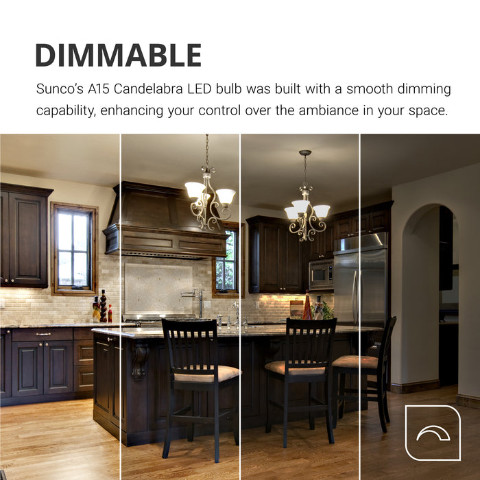 Dimmable. Sunco's A15 Candelabra LED bulb offers a smooth dimming capacity to enhance the look and feel of your space. Image shows a kitchen with multiple dim levels shown so you can see what they might look like when you dim from 100% down to 10% light levels. A15 Candelabra bulbs work well in chandeliers like the ones shown over this kitchen counter.