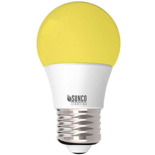 The Sunco A15 LED Yellow Bug Light is an 8W bulb with a yellow hue that naturally deters bugs with no pesticides needed. Bugs are more attracted to cool or blue tone lights. This warm, yellow bulb also functions as a cozy night light. The warmth of its sunset feeling helps reset your body's natural, circadian rhythms. Features an E26 base to fit in most household fixtures. Damp Rated and great for porches and entryways where bugs might attempt to gather around lights.