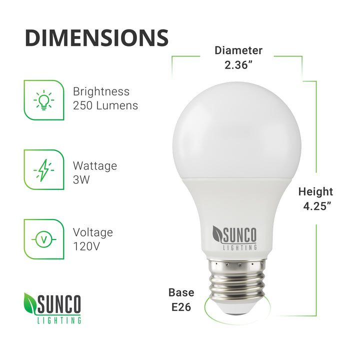A19 3W LED Dimensions: Diameter: 2.36 inches, Height: 4.25 inches, Base: E26. Other specs: Brightness: 250 Lumens, Wattage: 3W, Voltage 120V. This LED fits most household fixtures and office desk lamps. At 3W and a 25W equivalency, you can lower your energy consumption by switching to LED. Also, with a 25,000 hour lifetime, your relamping costs and maintenance time will also reduce.