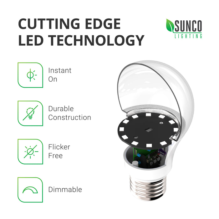 A19 3W LED Bulb offers cutting edge LED technology with: instant on, a bulb that is shatter- and shock-resistant, flicker-free, and dimmable. Image shows LED bulb cutaway so you can view the inside of the bulb to see the LED board and the durable housing. This recyclable bulb has a 25,000 hour lifespan to reduce your relamping and provide a sustainable choice.
