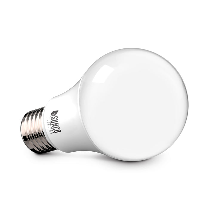 When you reduce your power consumption by using low watt LED light bulbs instead of high watt incandescent bulbs, you can lower your power bill. Sunco's A19 9W LED Bulb is a 60W equivalent. 9W=60W is a lot of power savings. It can add up when you have multiple table lamps in your living room or desk lamps in an office. This image shows the non-dimmable A19 LED bulb on its size to show off its standard a series light bulb shape.