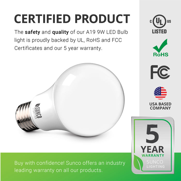 Certified Product. Sunco products are proudly backed by certificates to ensure the safety and quality of the products we sell. Our A19 9W LED Bulb is backed by FCC, RoHS, and UL Certificates. In addition, Sunco offers an industry leading warranty on all our products. This A19 9W bulb is covered by a 5-Year Warranty. Sunco is American owned and operated. We are a US-based company.